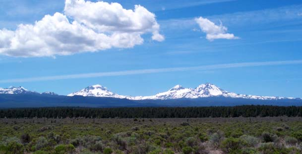 Three Sisters, looking west between Sisters and Bend, OR. (From Left to Right: South Sister, Middle Sister, North Sister)